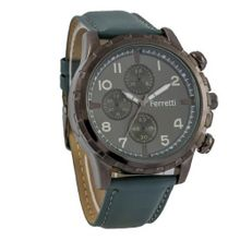 Ferretti FT11701 - Casual - Green Genuine Leather Band & Bronze Case - Chronograph Style