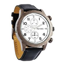 Ferretti FT11702 - Casual - Black Leather Band & Bronze Case - Chronograph Style