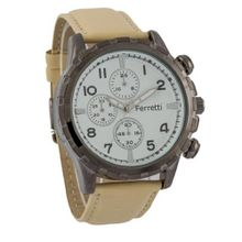 Ferretti FT11703 - Casual - Bronze Case & Beige Leather Band - Chronograph Style