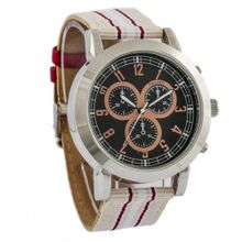 Ferretti FT11901 - Casual - Large Striped Red and Beige Band - Chronograph Style