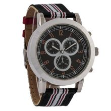 Ferretti FT11902 - Casual - Large Striped Black and Red Band - Chronograph Style