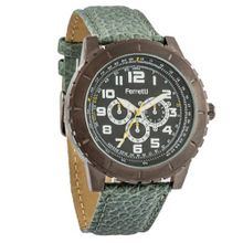 Ferretti FT12002 - Dress - Silver-Tone Case & Green Leather Band - Chronograph Style