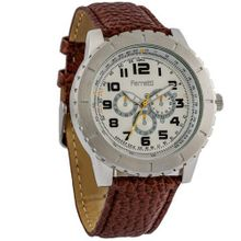 Ferretti FT12003 - Dress - Silver-Tone Case & Brown Leather Brand - Chronograph Style