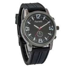 Ferretti FT12101 - Casual - Black Rubber Band & Black Dial and Gunmetal Case