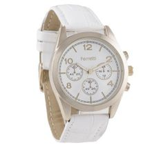 Ferretti `s FT11001 - Dress - White Croco Style Band & Dual-tone Gold with White Dial