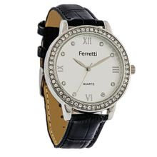 Ferretti `s FT11301 - Fashion - White Dial & Rhinestone-accent Case with Black Crocodile Leather Band
