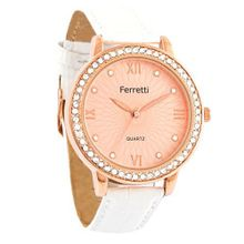 Ferretti `s FT11303 - Fashion - Rose Gold-tone Dial & Rhinestone-accent Case with White Crocodile Leather Band