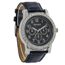 Ferretti `s FT11801 - Fashion - Black Crocodile Leather Band and Dial with Zirconian-Accent