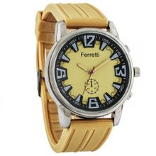 Ferretti `s FT12103 - Casual - Mustard-tone Dial & Rubber Band - Silver Case