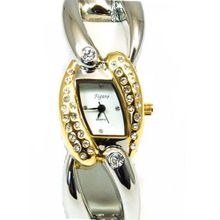 Figaro Gold And Silver Tone Ladies Bangle