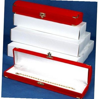 6 Red Flocked Bracelet Gift Boxes Case Displays