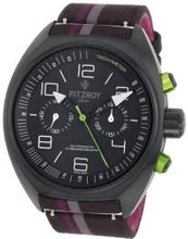 Fitzroy F-C-K2F2 Black Chronograph Black Steel Automatic Fabric Strap