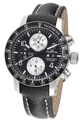 Fortis 665.10.11L B-42 Stratoliner Automatic Chronograph Black Dial
