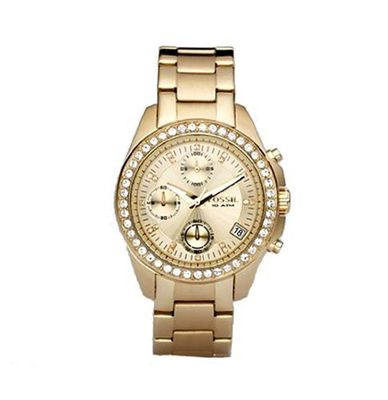 Fossil ES2683 Gold-Tone Stainless Steel Bracelet Gold Glitz Analog Dial Chronograph
