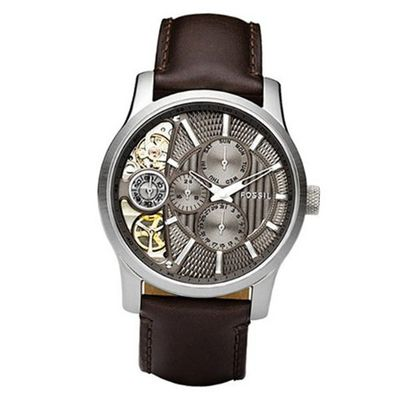 Fossil ME1098 Brown Leather Strap Textured Taupe Cutaway Analog Dial Chronograph