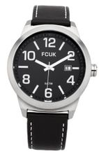 Fcuk Quartz with Black Dial Analogue Display and Black Leather Strap FC1098BB