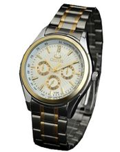 Golden Lines Multifunction es Quartz Full-automatic Stainless steel Business Man Wrist White