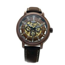 Gallucci Automatic 3 Eyes Skeleton IP Brown Coating Brown Dial #WT22970SK/SS-L-BB
