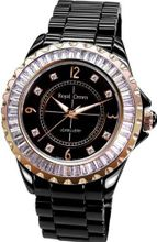 Black Ceramic with Crystal in 18K Rose Gold Plated Stainless Steel (128934)