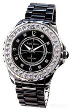 Black Ceramic with Crystal in 18K White Gold Plated Stainless Steel (128923)