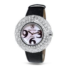 Black Genuine Leather with Crystal in 18K Rose Gold Plated Stainless Steel (128908)