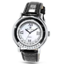Black Genuine Leather with Crystals in 18K White Gold Plated Stainless Steel (128903)
