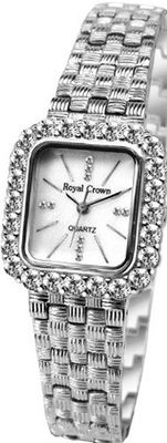 Gemorie  Fashion Square Shape Cubic Zirconia with Steel Band in Rhodium Plating (129005)