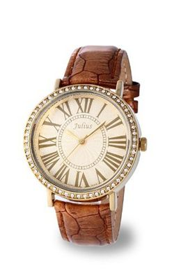 uGemorie Gold Genuine Leather with Crystals in 18k yellow gold plated stainless steel (118003-G)
