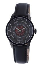 Gevril 2001 Automatic Black PVD Stainless Steel Hand Made Leather Day Date