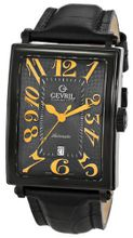 Gevril 5009A Avenue of Americas Automatic-Date Rectangular Black PVD Sapphire Crystal Orange Numbers Alligator Pattern Leather