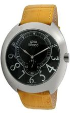 gino franco 901YL Round Stainless Steel Genuine Leather Strap