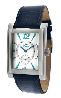 gino franco 902BL Stainless Steel Case and Genuine Leather Strap