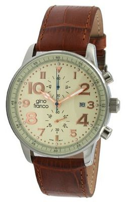 gino franco 911BR Volare Round Multi-Function Stainless Steel Genuine Leather Strap