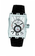 Gio Monaco 581-A Mac V Rectangular Silver Dial Alligator Leather Date