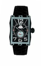 Gio Monaco 595-A Mac V Rectangular PVD Coated Side Alligator Leather