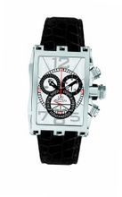 Gio Monaco 611-A Mac V Rectangular Silver Dial Alligator Leather Chrono