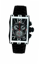 Gio Monaco 620-A Mac V Rectangular PVD Coated Side Black Dial Chrono