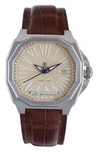 Gio Monaco 705-A Medusa Octagon Beige Dial Brown Alligator Leather