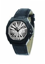 Gio Monaco 710-A Medusa Octagon Black PVD White Dial Alligator Leather