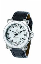 Gio Monaco 761-A Graffiti Automatic White Dial Black Alligator Leather