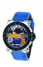 Gio Monaco 767-A2 Graffiti Automatic Geographic Scenes Dial Blue Alligator Leather