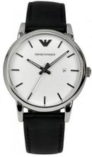 Armani AR1694 Classic Stainless Steel Case Leather Strap White Tone