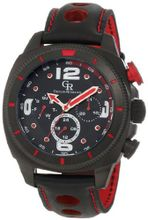 Giulio Romano GR-2000-13-004 Pescara Black IP Case with Red Aluminum Pusher Black Leather with Red Lining and Topstitching Dual-Time Day-Date