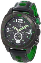 Giulio Romano GR-2000-13-006 Pescara Black IP Case with Green Aluminum Pusher Black Leather with Green Lining and Topstitching Dual-Time Day-Date
