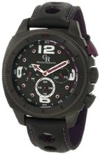 Giulio Romano GR-2000-13-013 Pescara Black IP Case with Purple Aluminum Pusher Black Leather with Purple Lining and Topstitching Dual-Time Day-Date