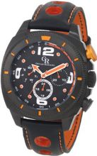 Giulio Romano GR-2000-13-079 Pescara Black IP Case with Orange Aluminum Pusher Black Leather with Orange Lining and Topstitching Dual-Time Day-Date