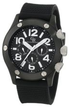 Giulio Romano GR-3000-13-007 Piemonte Luminous Black Dial Black IP Case and Bezel Dual-Time Day-Date Black Silicone Strap