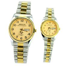 Ardour 1734 New Stylish Fashionable Water-proof Copper Alloy Quartz Movement Couples Gold