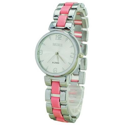 BEIKE Stylish Stainless Steel Band Metal Round Dial Casual Quartz Movement  - Pink