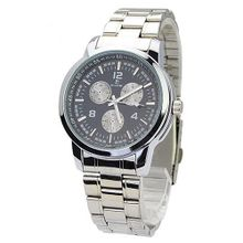 BIAOQI 8218G Casual Waterproof Stainless Steel Quartz Movement with Three Separate Sub-dials - Black Dial